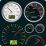 Speedometers. Vector Illustration of Dashboard Dial Royalty Free Stock Photography