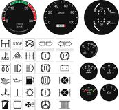 Speedometers and buttons Stock Photography