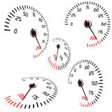 Speedometers i normal- och perspektivsikter vektor illustrationer
