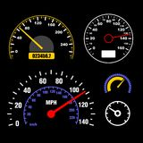 Speedometers Set on Black Background. Vector Royalty Free Stock Image