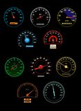 Speedometers set with dials and gauges with needle Stock Photo