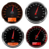 Speedometers and tachometers. Car dashboard black gauges with chrome frame. Vector 3d illustration isolated on white background stock illustration
