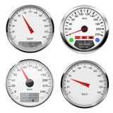 Speedometers and tachometers. Car dashboard gauges with chrome frame. Vector 3d illustration isolated on white background royalty free illustration