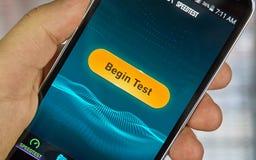 Speedtest mobiele app royalty-vrije stock afbeeldingen