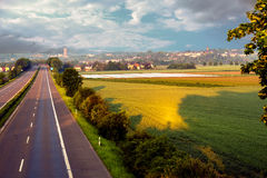 Speedway around town Bruehl Germany. Speedway around the city, the road without traffic, and the dawn of the road, the road to fantasy, dreams and reality, the Stock Photos