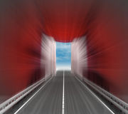 Speedway through blurred red curtain with sky Royalty Free Stock Images