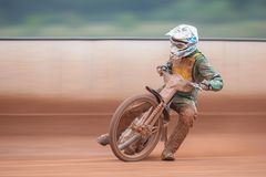 Speedway Championship 2012. EGGENDORF, AUSTRIA - OCTOBER 7 Laszlo Meszaros (#9 Hungary) competes in the 2nd heat of the Austrian speedway championship on October stock images