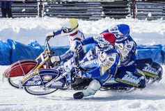 Speedway on ice.The confrontation between three riders. Russia. The Republic Of Bashkortostan. The Ufa. The Russian team championship for motorcycle racing on Stock Image
