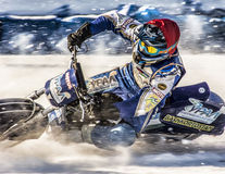 Speedway on ice. At full throttle through the snow. Royalty Free Stock Image