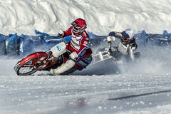 Speedway on ice. On the oval. Royalty Free Stock Photography