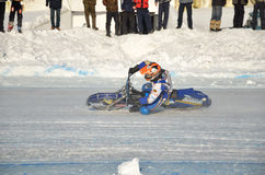 Speedway on ice, turn on a motorcycle Royalty Free Stock Photos