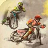 Speedway, Motorradrennen - eine Handgezogene Illustration vektor abbildung