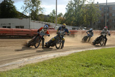 Speedway race. The Amateur competition in Speedway in Daugavpils (Latvia). August 2014 royalty free stock photo