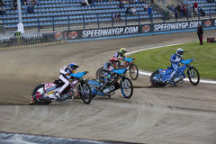 Speedway racers on the track Stock Image