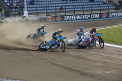 Speedway racers on the track Royalty Free Stock Images