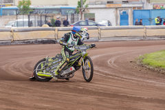 Speedway rider. At a dirt track competition in Sibiu, Romania Stock Image
