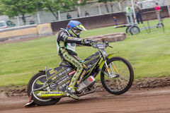 Speedway rider. At a dirt track competition in Sibiu, Romania Stock Images