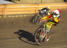 Speedway rider on the track Stock Photo