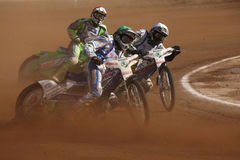 Speedway riders compete on track in Pardubice, Czech Republic. Royalty Free Stock Image
