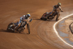 Speedway riders compete on track in Pardubice, Czech Republic. Stock Images