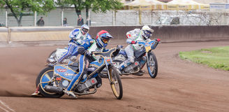 Speedway riders. At a dirt track competition in Sibiu, Romania Stock Photos