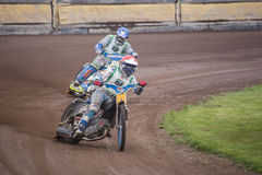 Speedway riders. At a dirt track competition in Sibiu, Romania Royalty Free Stock Image