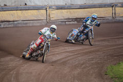 Speedway riders. At a dirt track competition in Sibiu, Romania Stock Images