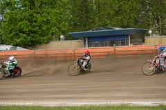 Speedway riders on the track. DAUGAVPILS, LATVIA - May 22, 2016: Speedway riders on the track in match of polish NICE league Lokomotiv - Wlokniarz Czestochowa 51 royalty free stock photo