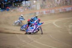 Speedway riders on the track - Grigorij Laguta ahead Stock Photo