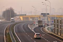 Speedway S17 nära till Lublin, Polen Arkivbilder