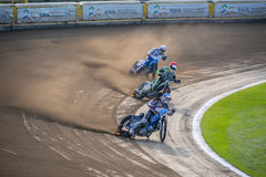 Speedway. Three speedway players during exciting competition on track located in Rybnik, Poland royalty free stock photos