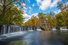Speedwell Dam long Exposure in Autumn. Movement of the water at Speedwell Dam in New Jersey Stock Images