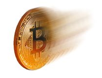 Speedy bitcoin fast zoom movement. Concept photo of a bitcoin cryptocurrency zooming along at high speed Royalty Free Stock Images