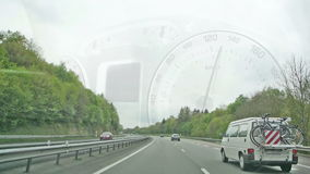 Speedy car driving on highway Royalty Free Stock Photo