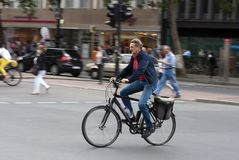 Speedy cyclist in Berlin Stock Image