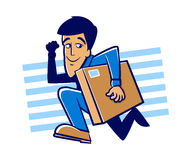 Speedy Delivery. Messenger man running with a large package Stock Photos