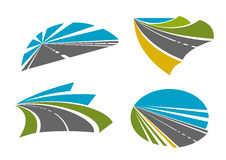 Speedy highway roads icons for traveling design Stock Photo