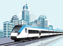 Speedy metro passing in front of modern city vector illustration