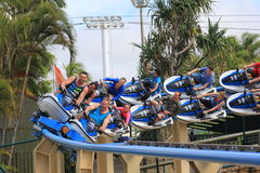 Speeding roller coaster ride Jet Rescue Stock Images