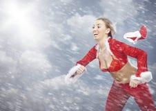 Speedy Santa and snowstorm Stock Image