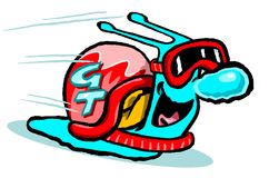 Speedy snail. A comic illustration of a blue snail with goggles and a helmet moving rapidly Stock Image