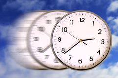 Speedy time. Clocks in motion blur as concept for the speed of time Stock Photography