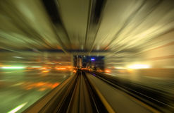 Speedy trains. Exiting a train station Stock Images