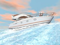 Speedy yacht - 3D render Royalty Free Stock Photo