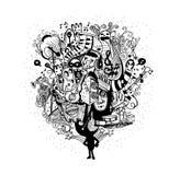 Speel de muziekhand getrokken stijl van de monsterband Stock Afbeelding