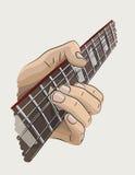 Speelgitaar gekleurde illustratie Stock Afbeelding