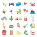 Speelgoed 25 beeldverhaalpictogrammen die voor Web worden geplaatst Royalty-vrije Stock Afbeelding