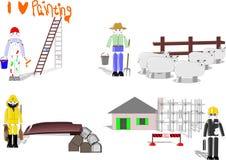 Speelgoed dat vier carrièrekeuzen afschilderen Stock Fotografie