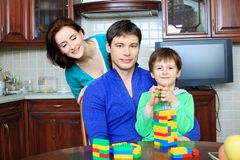 Speelgoed en familie Stock Foto's