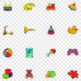 Speelgoed geplaatst pictogrammen Stock Afbeelding
